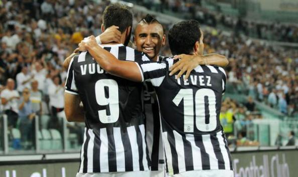 3 Pencetak Gol. 2 by Vidal, Then Vucinic, and the last from Tevez who makes 3 goals in 3 official matches